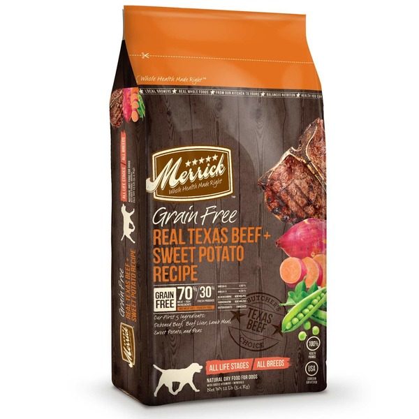 Merrick Grain Free Real Texas Beef & Sweet Potato Dog Food 12 Lbs.