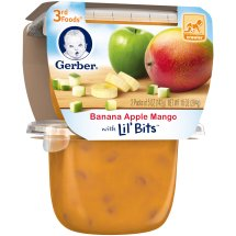 Gerber 3rd Foods Lil' Bits Banana Apple Mango Baby Food, 5 oz Tubs, 2 Count