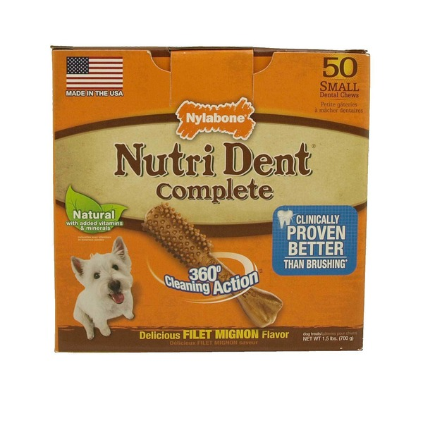 Nylabone Nutri Dent Complete Filet Mignon Flavor Small Dental Chew For Adult Dogs