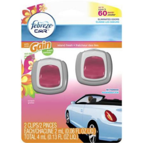 Febreze CAR Air Freshener with Gain Island Fresh (2 Count, 0.13 oz) Air Care