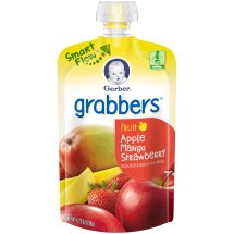 Gerber Grabbers Fruit Squeezable Puree, Apple Mango Strawberry, 4.23 oz Pouch