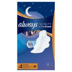 Always Infinity Size 4 Overnight Pads with Wings, Unscented, 28 Count