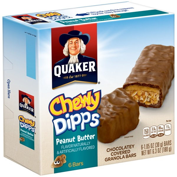 Quaker Chewy Dipps Chocolatey Covered Peanut Butter 1.05 Oz Granola Bars