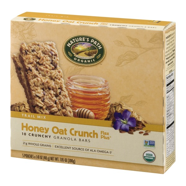 Nature's Path Organic Trail Mix Honey Oat Crunch Flax Plus Granola Bars - 5 CT