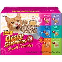 Purina Friskies Gravy Sensations Pouch Favorites Cat Food Variety Pack 24-3 oz. Pouches