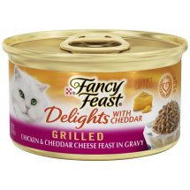 Purina Fancy Feast Delights Grilled Chicken & Cheddar Cheese Feast in Gravy Cat Food 3 oz. Can