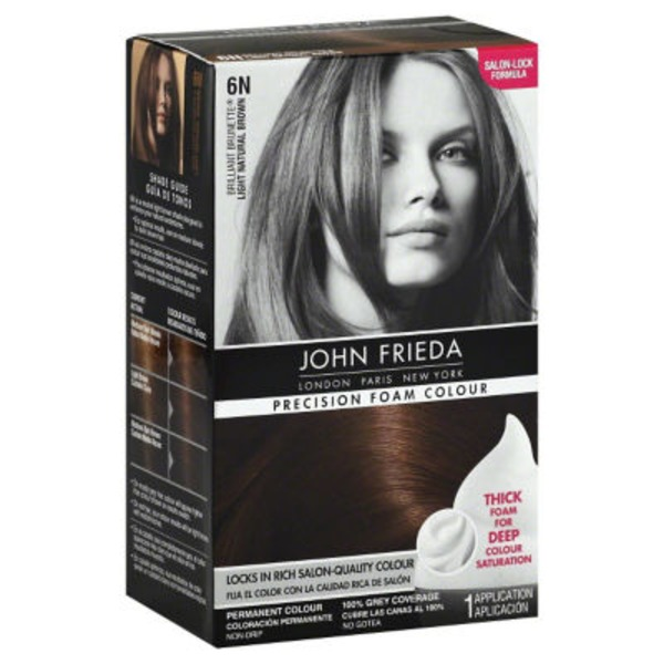 John Frieda Hair Color Brilliant Brunette Salon Blends Light Natural Brown 6N Precision Foam Colour