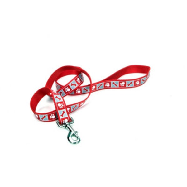 Coastal Pet Lazer Brite Red 5/8 Inch Leash With Reflective Paws & Bones