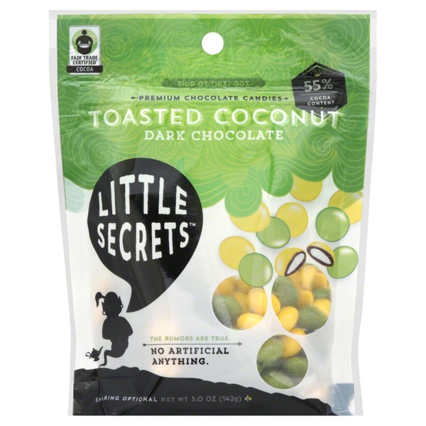 Little Secrets Chocolate Candies, Dark, Toasted Coconut, Pouch