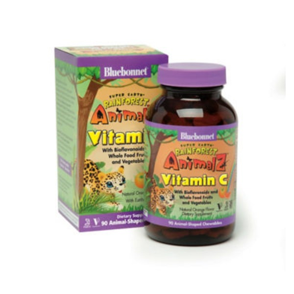 Bluebonnet Rainforest Animalz Vitamin C Natural Orange Flavor Vegetarian Chewables