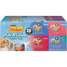 Purina Friskies Fish-A-Licious Adult Wet Cat Food Variety Pack - (32) 5.5 oz. Cans