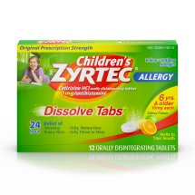 Children's Zyrtec Allergy Relief Dissolve Tablets With Cetirizine, Citrus Flavored, 12 Count