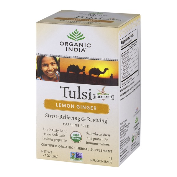 Organic India Tulsi Holy Basil Lemon Ginger, Caffeine Free