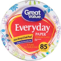 Great Value Everyday Paper Plates 10 1/16' 85ct