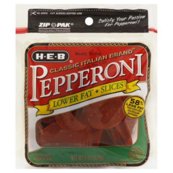 H-E-B Lower Fat Pepperoni Slices