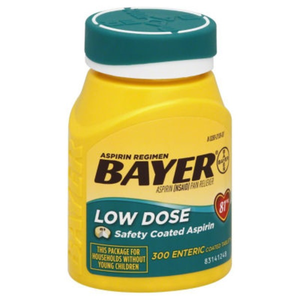 Bayer Low Dose 81mg Enteric Coated Aspirin Tablets Pain Reliever