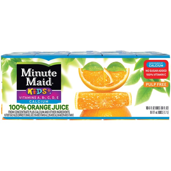 Minute Maid Kids+ Vitamins A B1 C D E & Calcium 100% Orange Juice