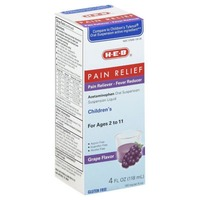 H-E-B Pain Relief Pain Reliever / Fever Reducer Acetaminophen Oral Suspension Liquid For Ages 2 To 11 Grape Flavor