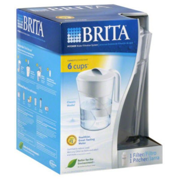 Brita Water Filtration System Pitcher 6-Cup Capacity Classic Model