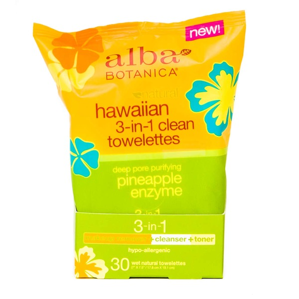 Alba Botanica Natural Hawaiian 3-in-1 Clean Towelettes - 30 CT