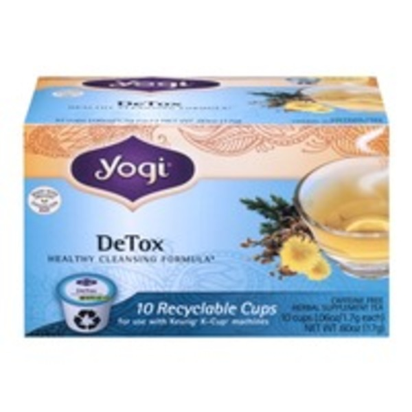 Yogi DeTox Herbal Supplement Tea Recyclable Cups - 10 CT