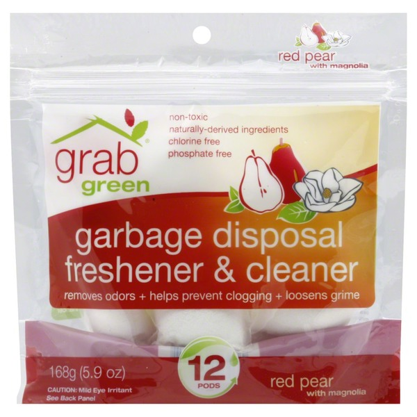 GG Grab Green Grab Green Garbage Disposal Freshener & Cleaner Pods Red Pear With Magnolia - 12 CT