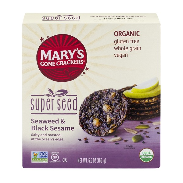 Mary's Gone Crackers Super Seed Crackers Seaweed & Black Sesame