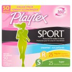 Playtex Sport Unscented Multi-Pack Plastic Tampons, 50 count