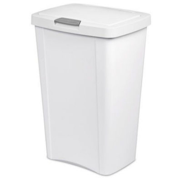 Sterilite 13 Gallon White Touch Top Wastebasket