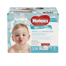 Huggies One & Done Baby Wipes, Cucumber & Green Tea, 6 packs of 56 (336 count)