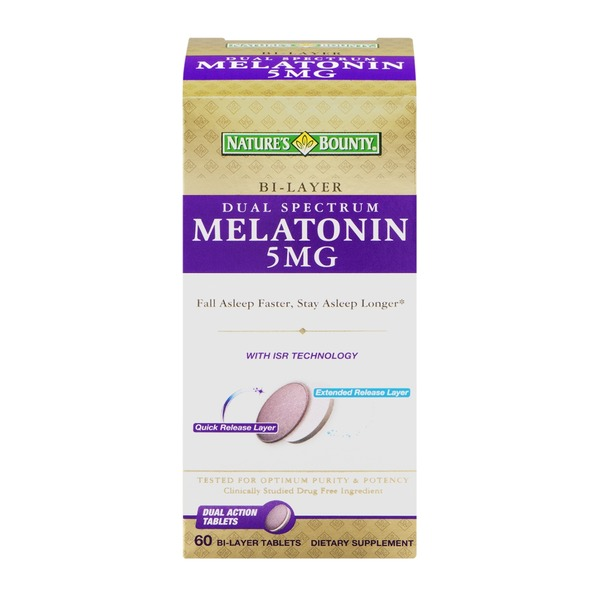 Nature's Bounty Melatonin 5mg Bi-Layer Tablets - 60 CT