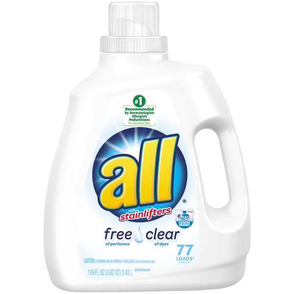 All With Stainlifters Free Clear 77 Loads Liquid Laundry Detergent