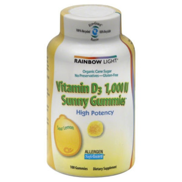 Rainbow Light Sunny Gummies Vitamin D3 1,000 IU Dietary Supplement Gummies - 100 CT