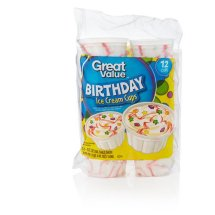 Great Value Birthday Bash Ice Cream Cups, 3 fl oz, 12 ct
