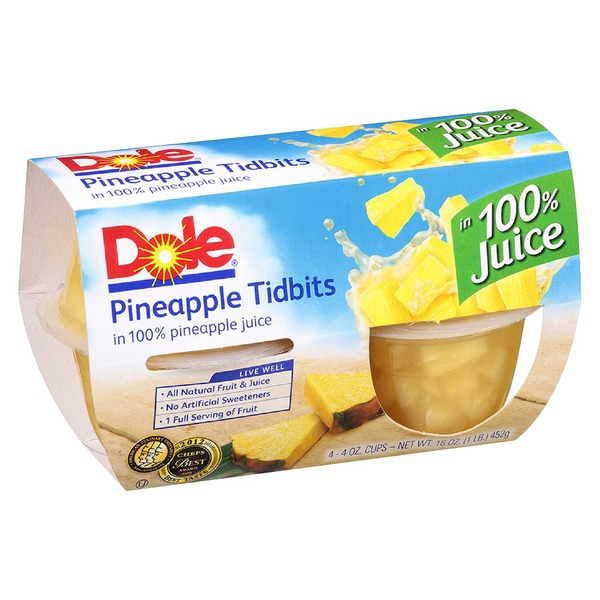 Dole Fruit Bowls Tidbits in 100% Pineapple Juice Pineapple