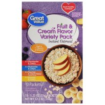 Great Value Instant Oatmeal, Fruit & Cream Flavor Variety Pack, 12.3 oz, 10 Count