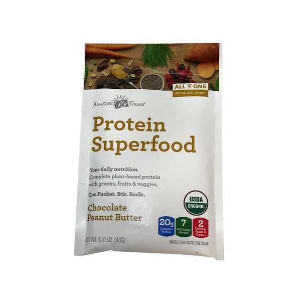 Amazing Grass Protein Superfood Chocolate Peanut Butter Whole Food Nutrition Shake
