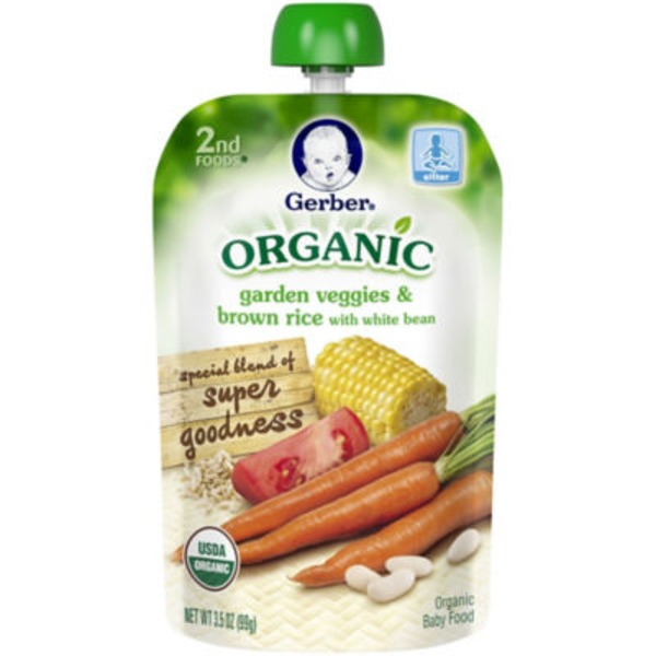 Gerber Organic 2 Nd Foods Garden Veggies & Brown Rice with White Beans Organic Baby Food