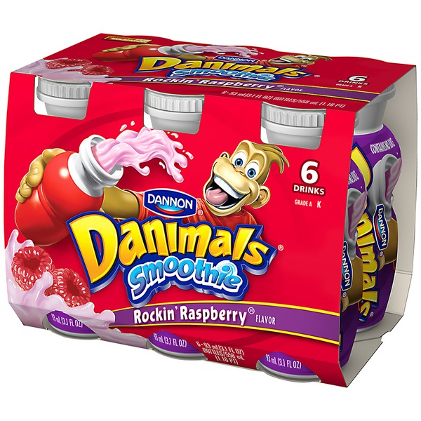 Danimals Smoothies Rockin' Raspberry 3.1 Fl Oz Plastic Bottles Smoothie