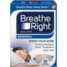 Breathe Right Original Nasal Strips, Tan Color, Drug Free, Large Size, 30 Strips