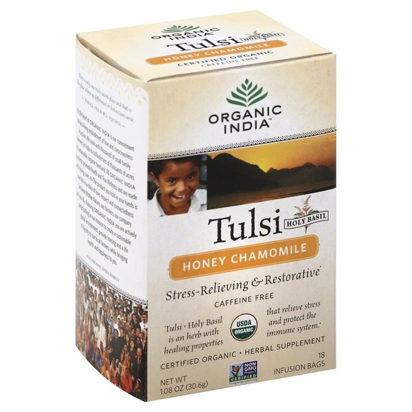 Organic India Tulsi (Holy Basil) Honey Chamomile Caffeine Free Tea