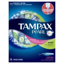 Tampax Pearl Plastic Fresh Scent Tampons, Super Absorbency, 18 Count
