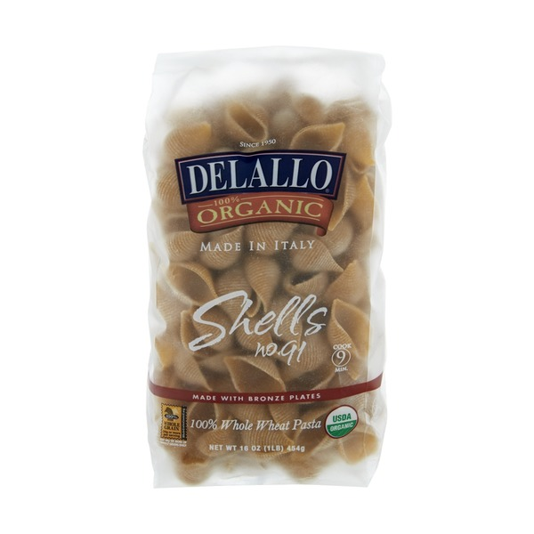 DeLallo 100% Organic Shells Bronze Plates Whole Wheat Pasta
