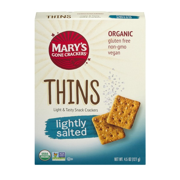 Mary's Gone Crackers Thins Light & Tasty Snack Crackers Lightly Salted