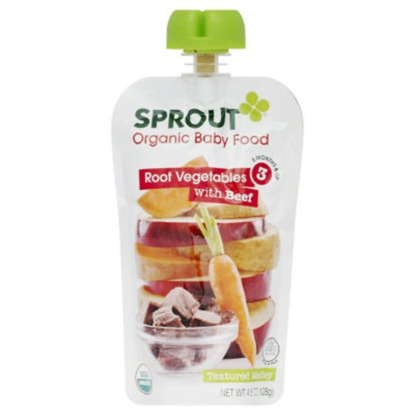 Sprouts Baby Food, Organic, Root Vegetables Apple with Beef, 3 (8 Months & Up)
