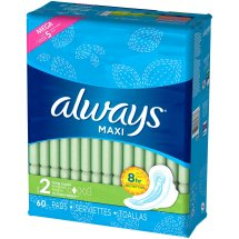 Always Maxi Size 2 Long Super Pads with Wings, Unscented, 60 Count