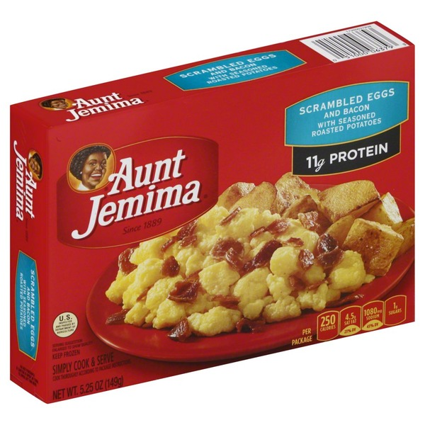 Aunt Jemima with Seasoned Roasted Potatoes Scrambled Eggs & Bacon