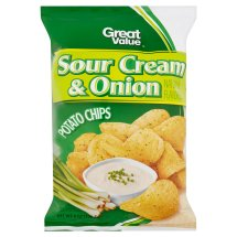 Great Value Sour Cream & Onion Potato Chips 8 oz