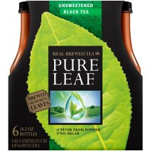 Lipton Pure Leaf Unsweetened Real Brewed Black Tea, 18.5 Fl Oz, 6 Count