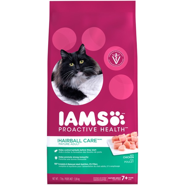 Iams Proactive Health Hairball Care Mature Adult with Chicken Cat Food